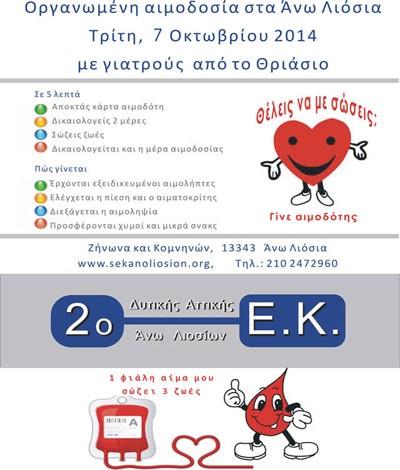 αιμοδοσία, 2ο ΕΚ, Άνω Λιόσια, μαθητές, καθηγητές