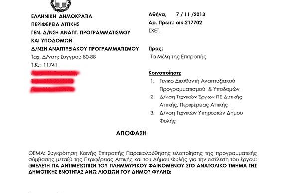 περιφέρεια Αττικής, μελέτη, αντιπλημμυρικά έργα, ανατολικό τμήμα, Άνω Λιοσίων