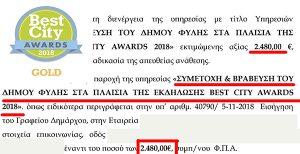 BEST CITY AWARDS, Δήμος Φυλής